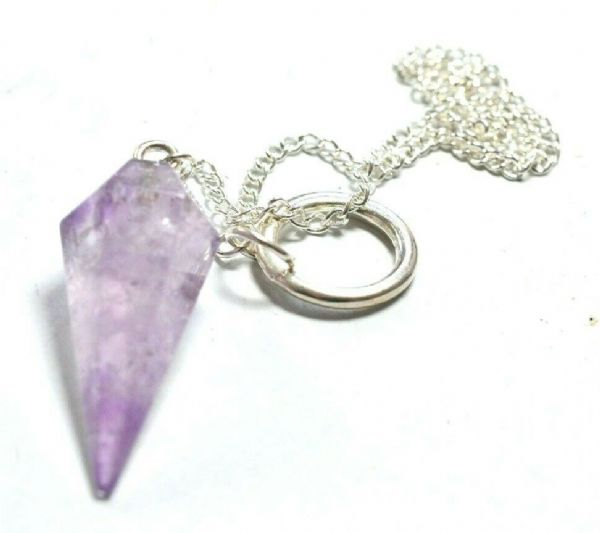 CLEAR AMETHYST DOWSING PENDULUM - LOVELY INCLUSIONS - 3rd Eye - divination